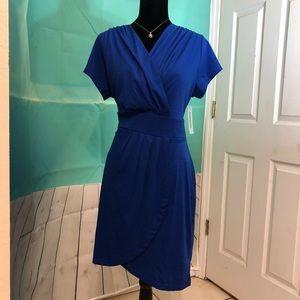 Blue mock wrap dress